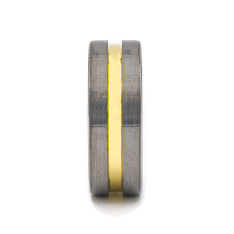 Tungsten Carbide pipe cut men's wedding ring with brushed finished and yellow gold plated groove.