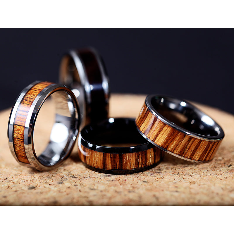 Flat Tungsten Carbide ring with real zebra wood inlay and polished edges