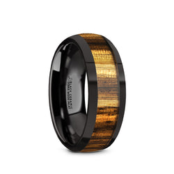 Black Ceramic domed men's wedding ring with zebra wood inlay and polished finish
