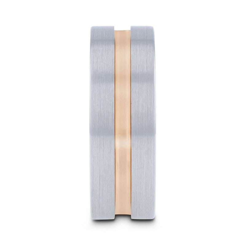 Tungsten Carbide pipe cut men's wedding ring with brushed finished and rose gold plated groove