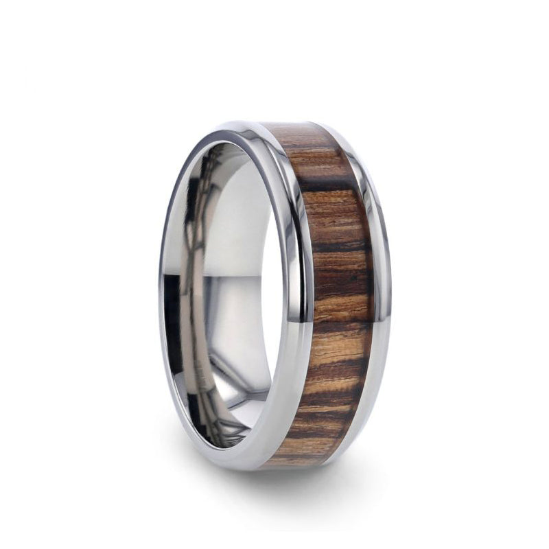 Titanium men's wedding ring with zebra wood inlay and beveled edges