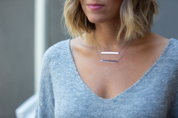 Large Silver Layering Bar Necklace