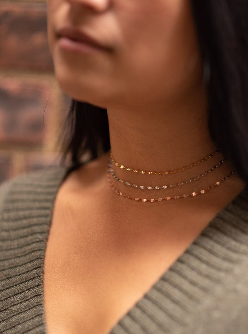 Thin Sparkle Choker in Sterling Silver