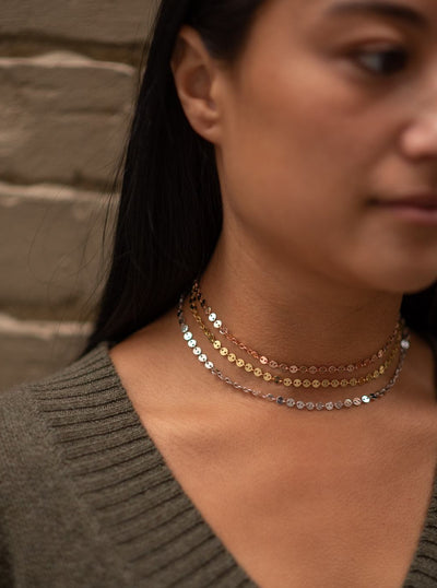 Thick Sparkle Choker in Sterling Silver