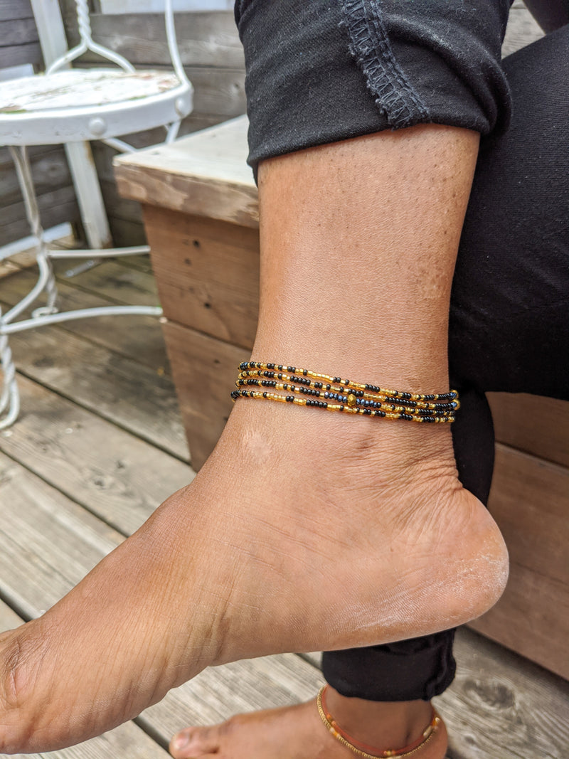 Black and Gold Beaded Wrapped Anklet