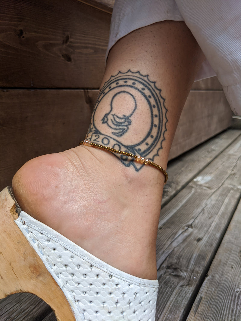 Bronze and Champagne Beaded Anklet