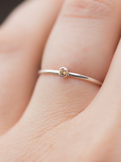 Silver Citrine Birthstone Stacking Ring