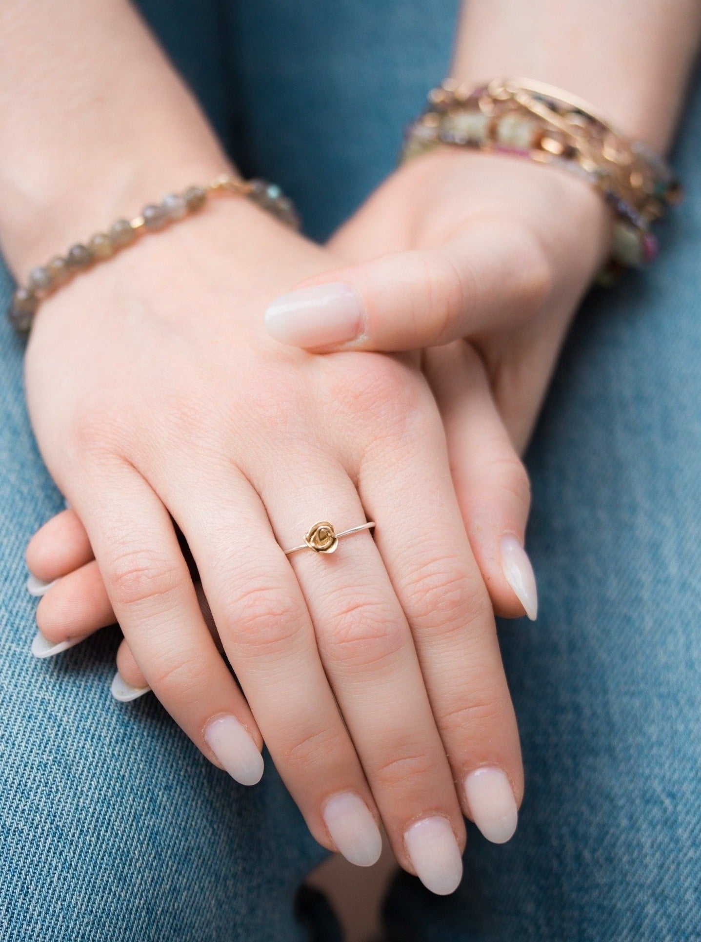 Large Kissed by a Rose Ring in Yellow Gold