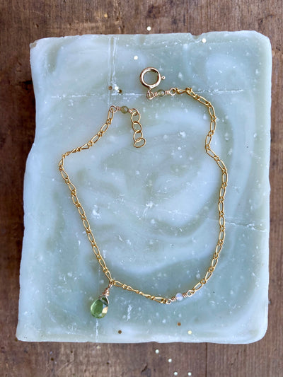 Peridot Anchor Chain Bracelet