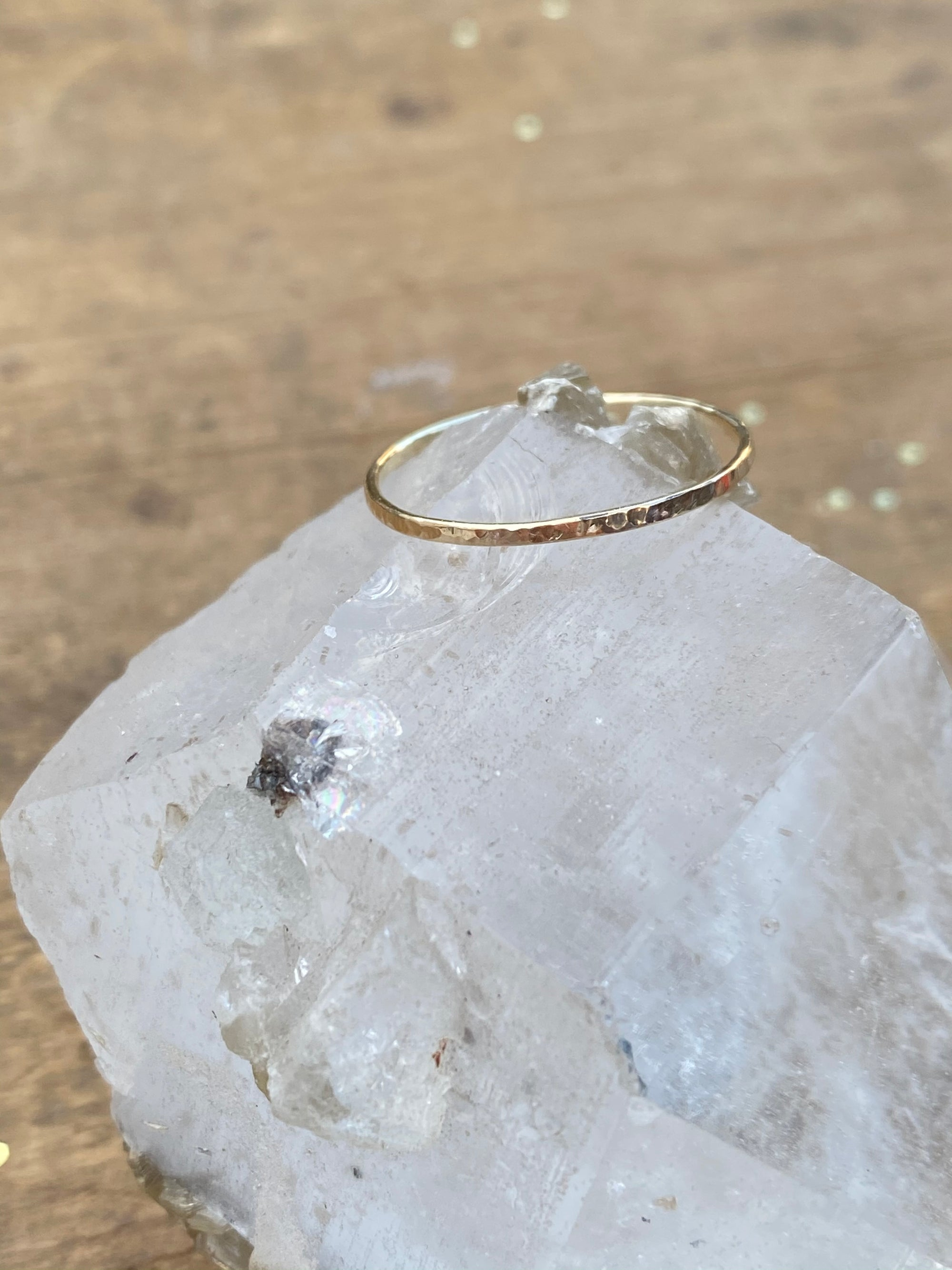 10K Yellow Gold Hammered Stacking Ring