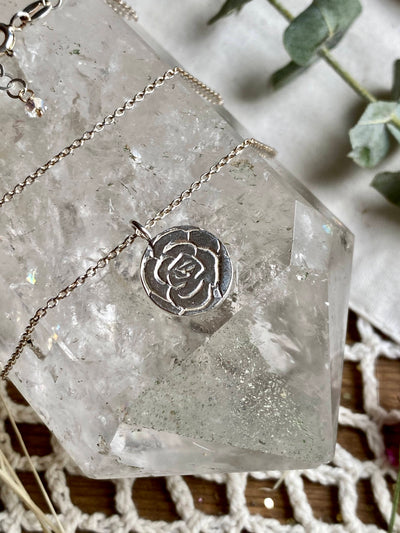 Red Rose Flower Pendant Necklace