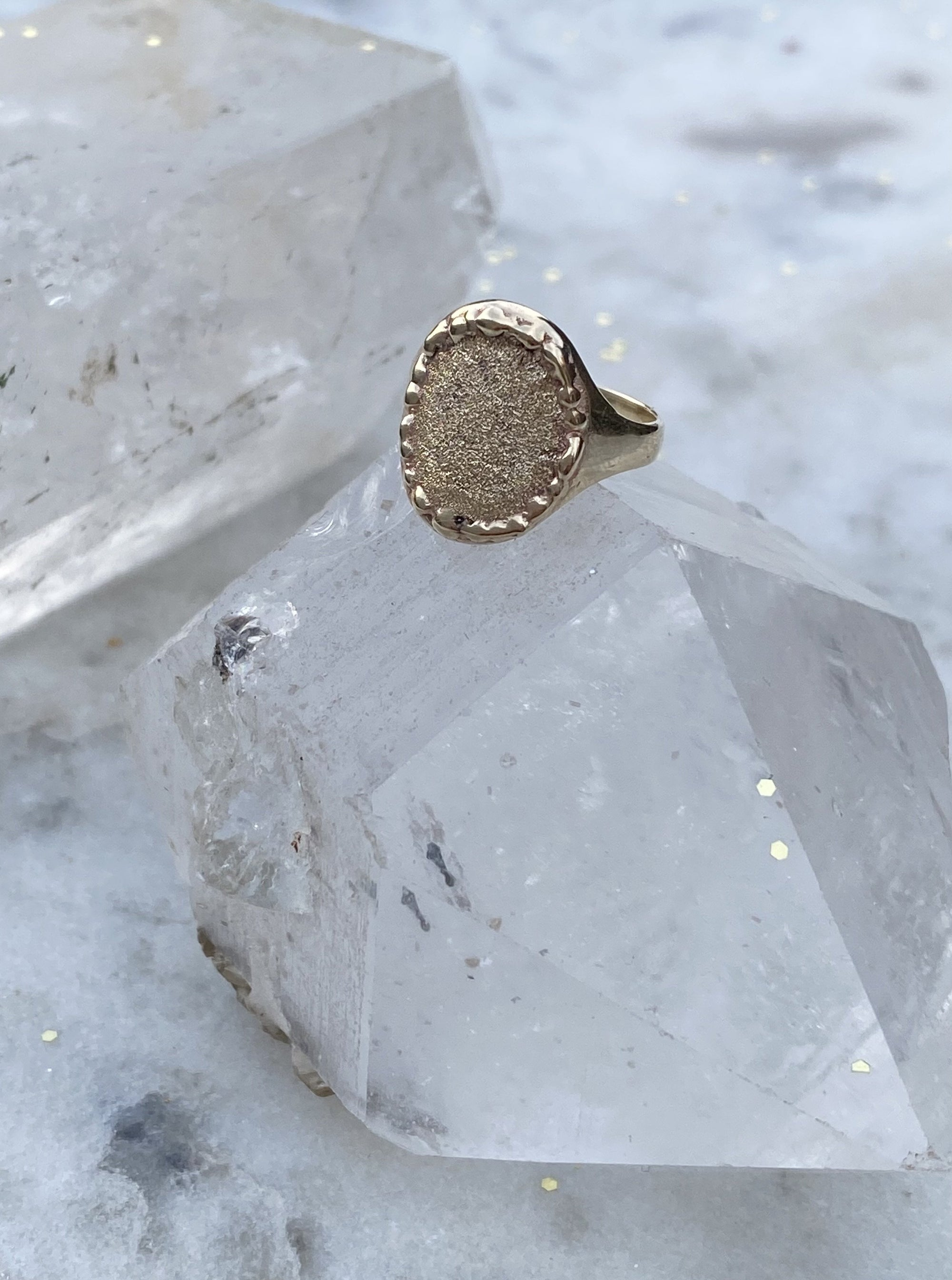 The 10K Yellow Gold Willo Signet - Textured Face