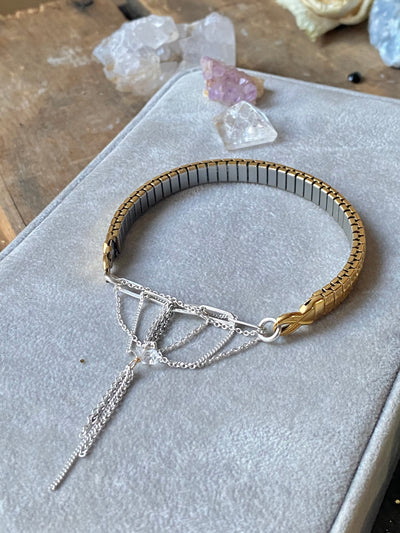 Saturn Silver and Gold Watchband Bracelet