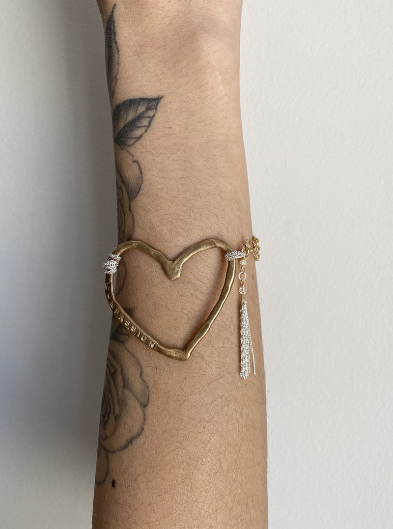 Brass Heart Compassion Cuff