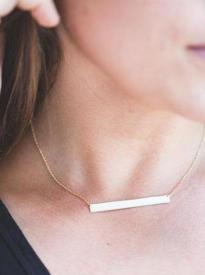 Large Rose Gold Layering Bar Necklace