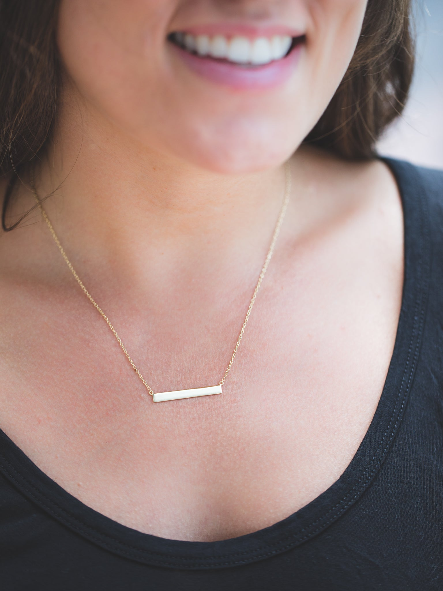 Yellow Gold Layering Bar Necklace