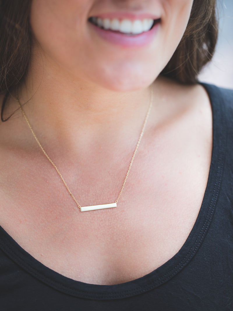 Small Yellow Gold Layering Bar Necklace