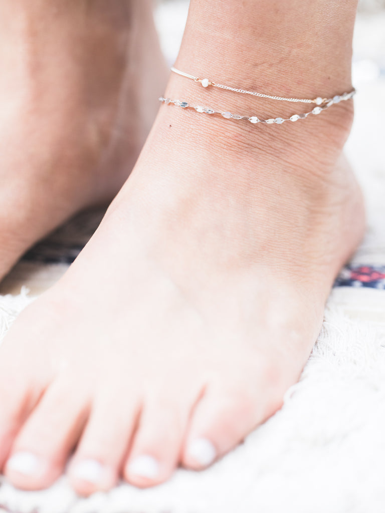 Sparkle Moon Layered Anklet