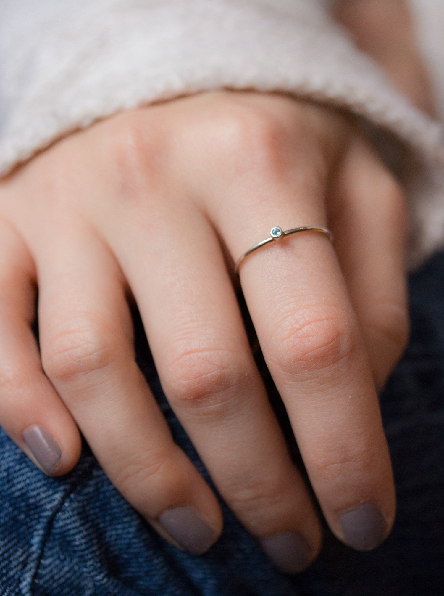 Silver Aquamarine Birthstone Stacking Ring