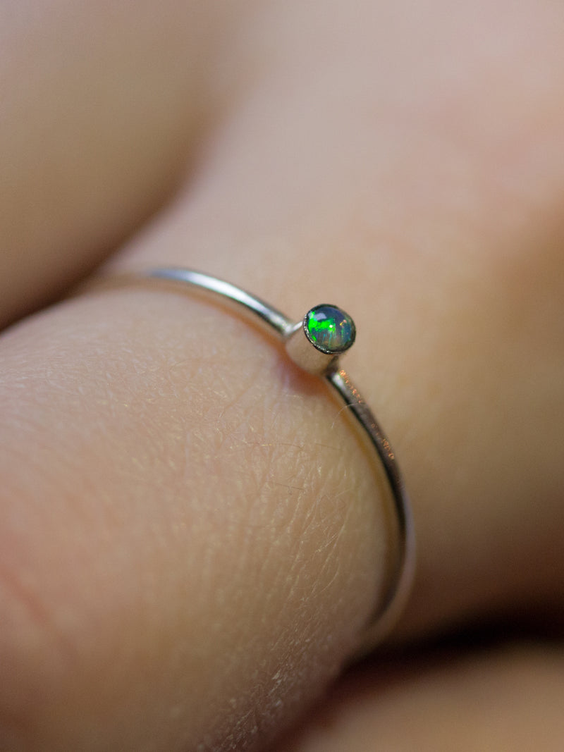 Silver Opal Birthstone Stacking Ring