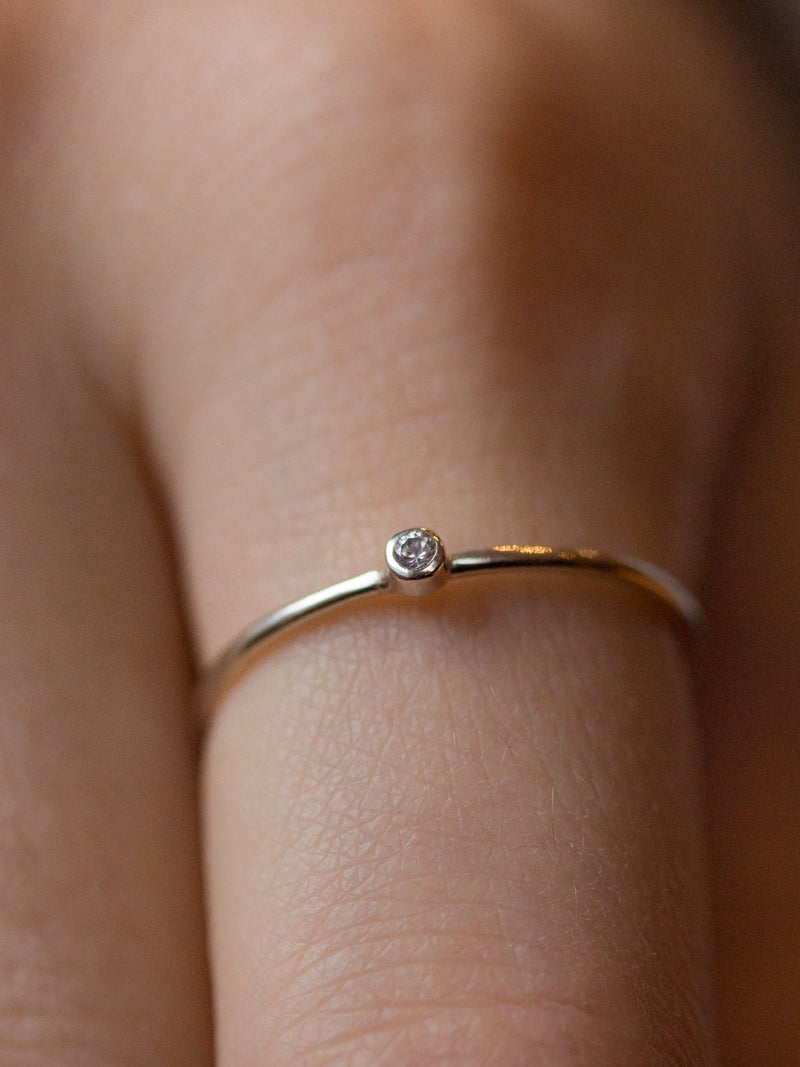 Silver Diamond Birthstone Stacking Ring