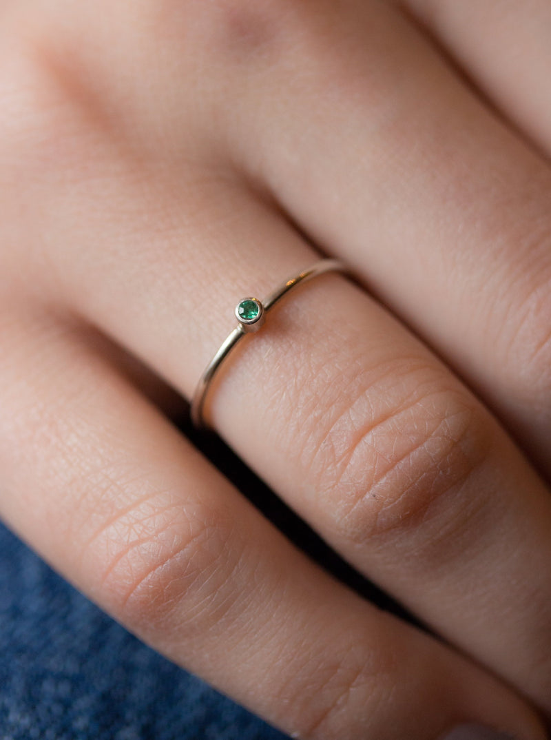 Silver Emerald Birthstone Stacking Ring