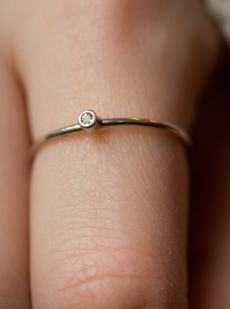 Silver Peridot Birthstone Stacking Ring