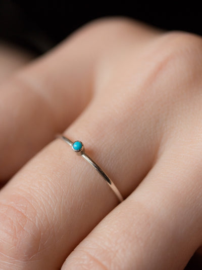 Silver Turquoise Birthstone Stacking Ring