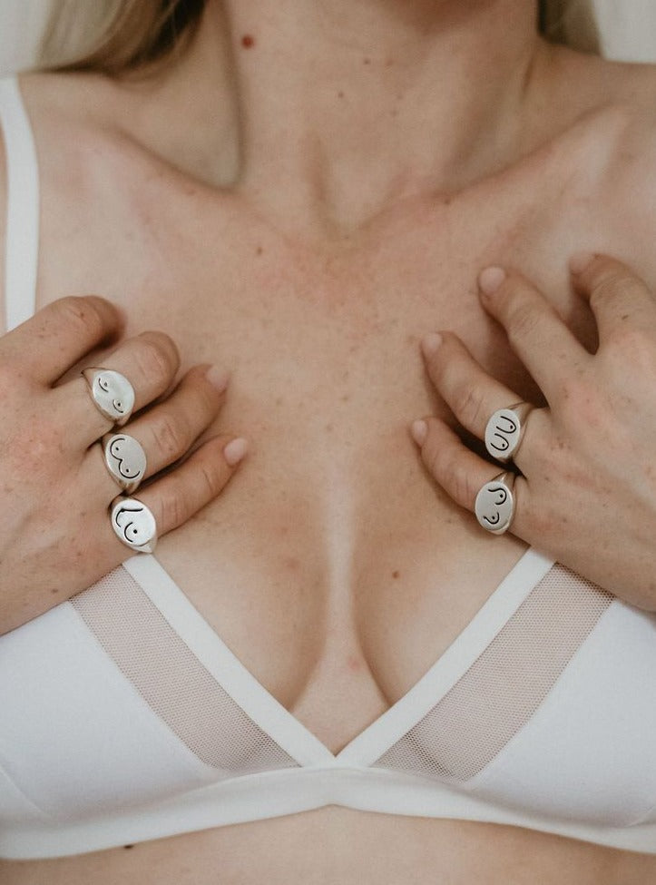 For the Love of BOOBS Signet Ring Collection