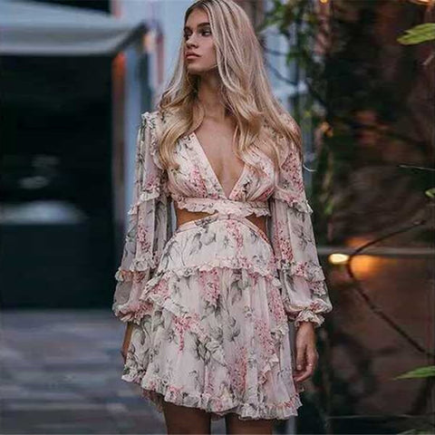 Victoria Floral Hollow Out  Dress