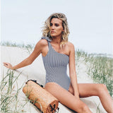 Courtney One Shoulder Striped Swimsuit