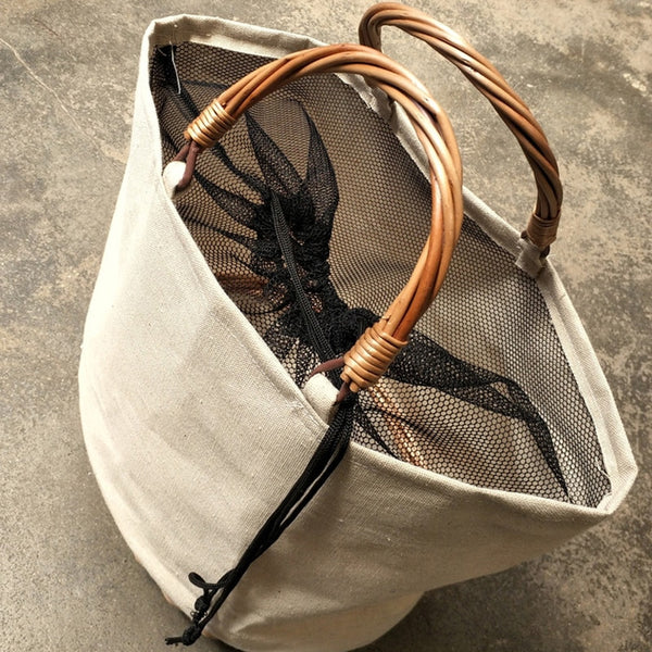 Anne Canvas Straw Bag