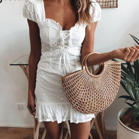 Lonnie Lace-up Eyelet Dress