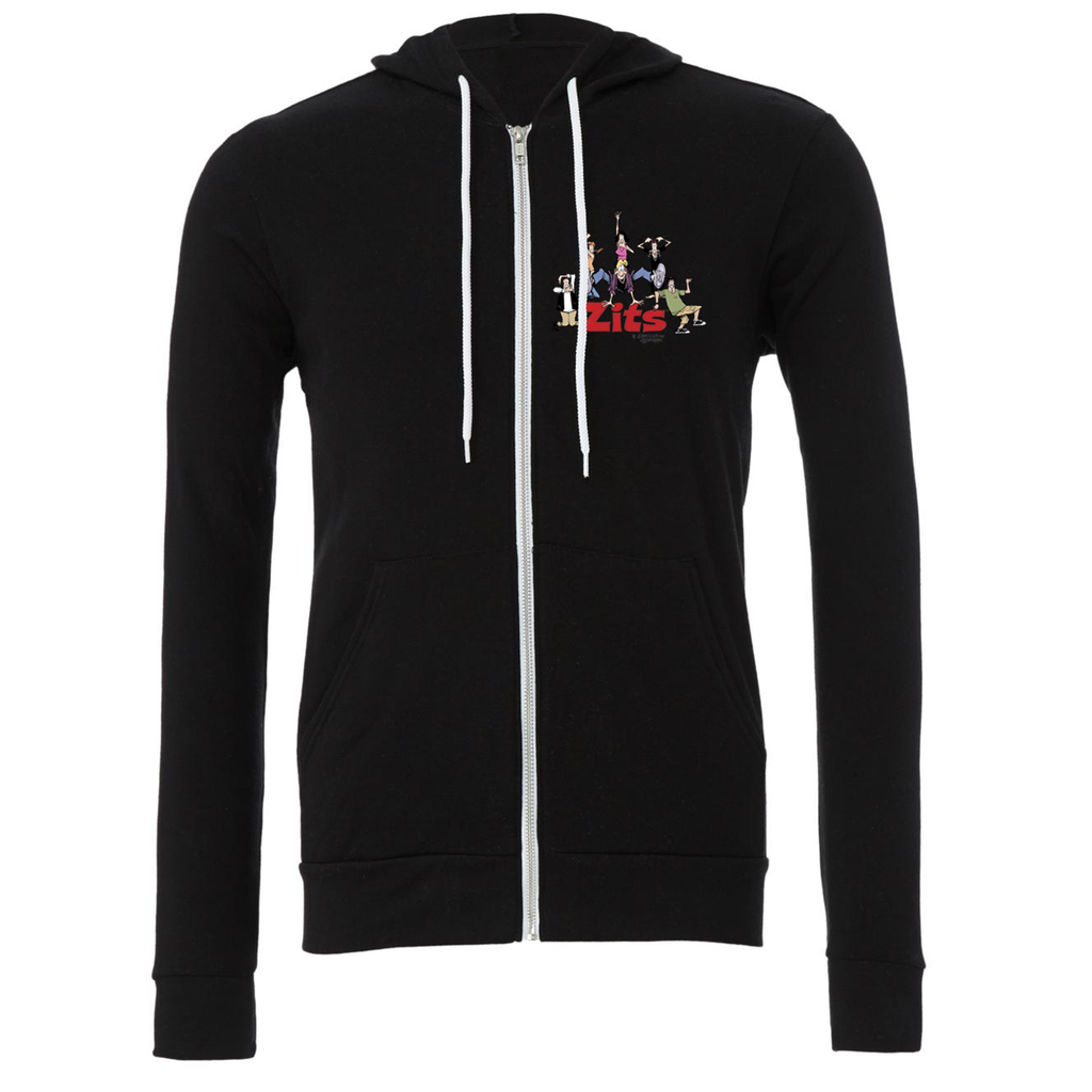 Zits 'Group' Zip Up Hoodie Black