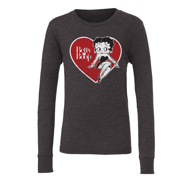 Betty Boop 'Big Heart Betty' Youth Long Sleeve T Shirt Dark Heather