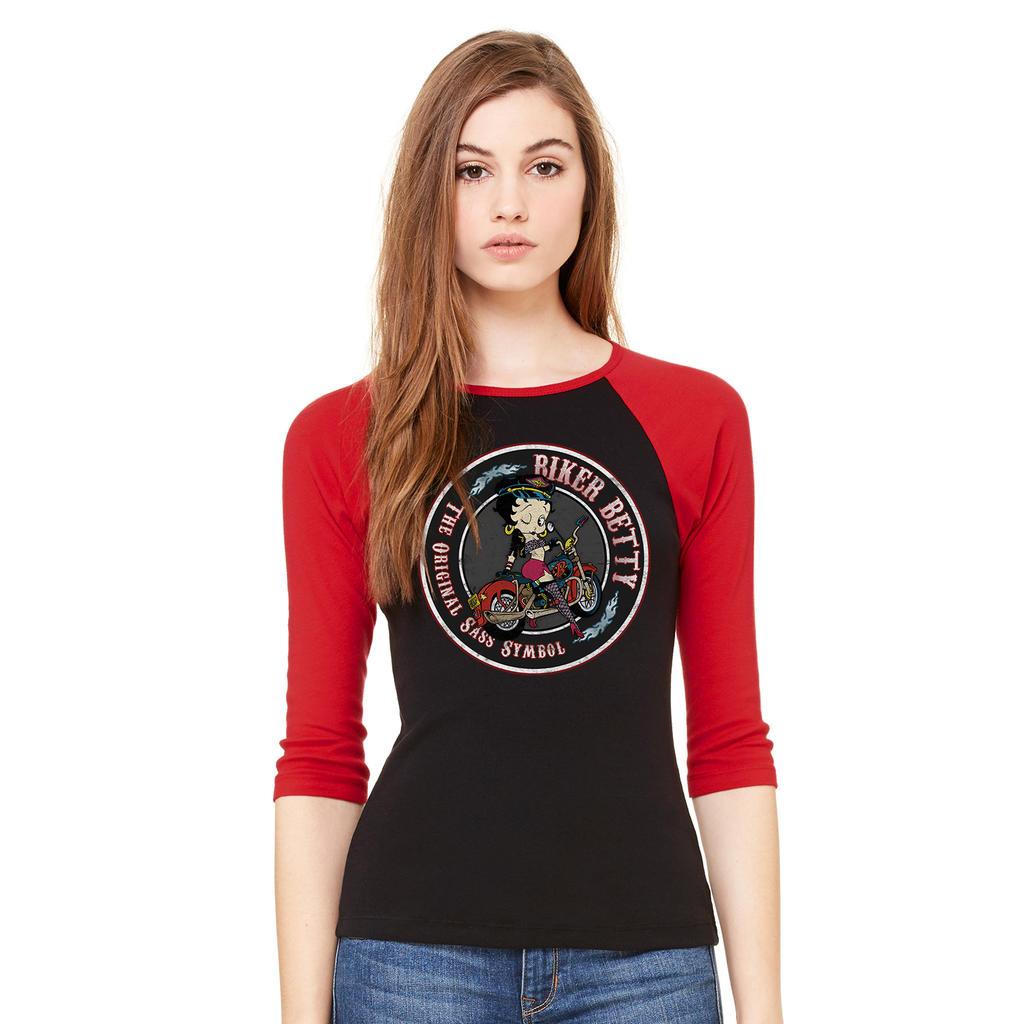 Betty Boop Biker Women's Baseball T-Shirt