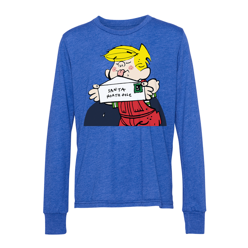 Dennis the Menace Holiday Santa Letter Youth Long Sleeve T Shirt