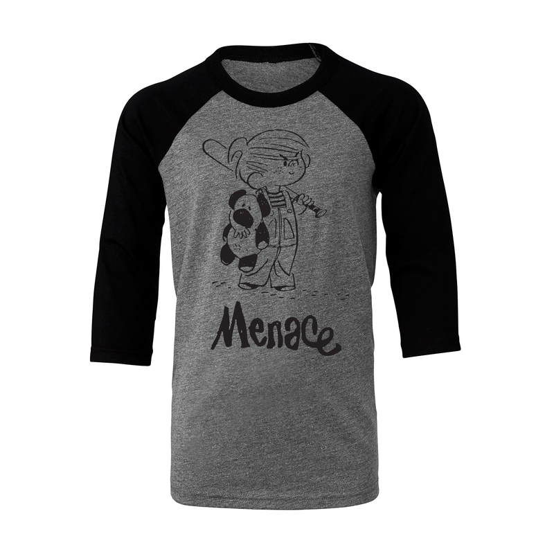 Dennis the Menace 'Menace' Youth Baseball T Shirt Dark Heather/Black