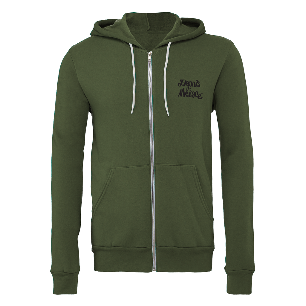 Dennis the Menace 'Menace' Zip Up Hoodie Military Green