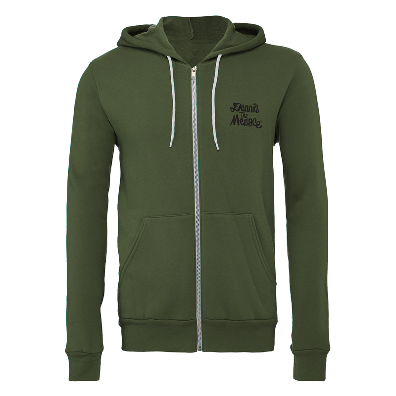 Dennis the Menace 'Menace' Zip Up Unisex Hoodie Military Green