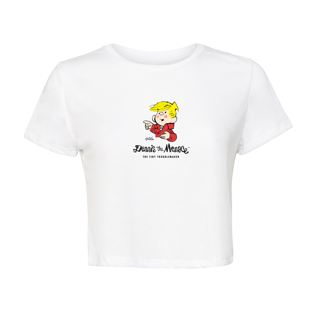 Dennis the Menace 'Tiny Troublemaker' Crop T Shirt White