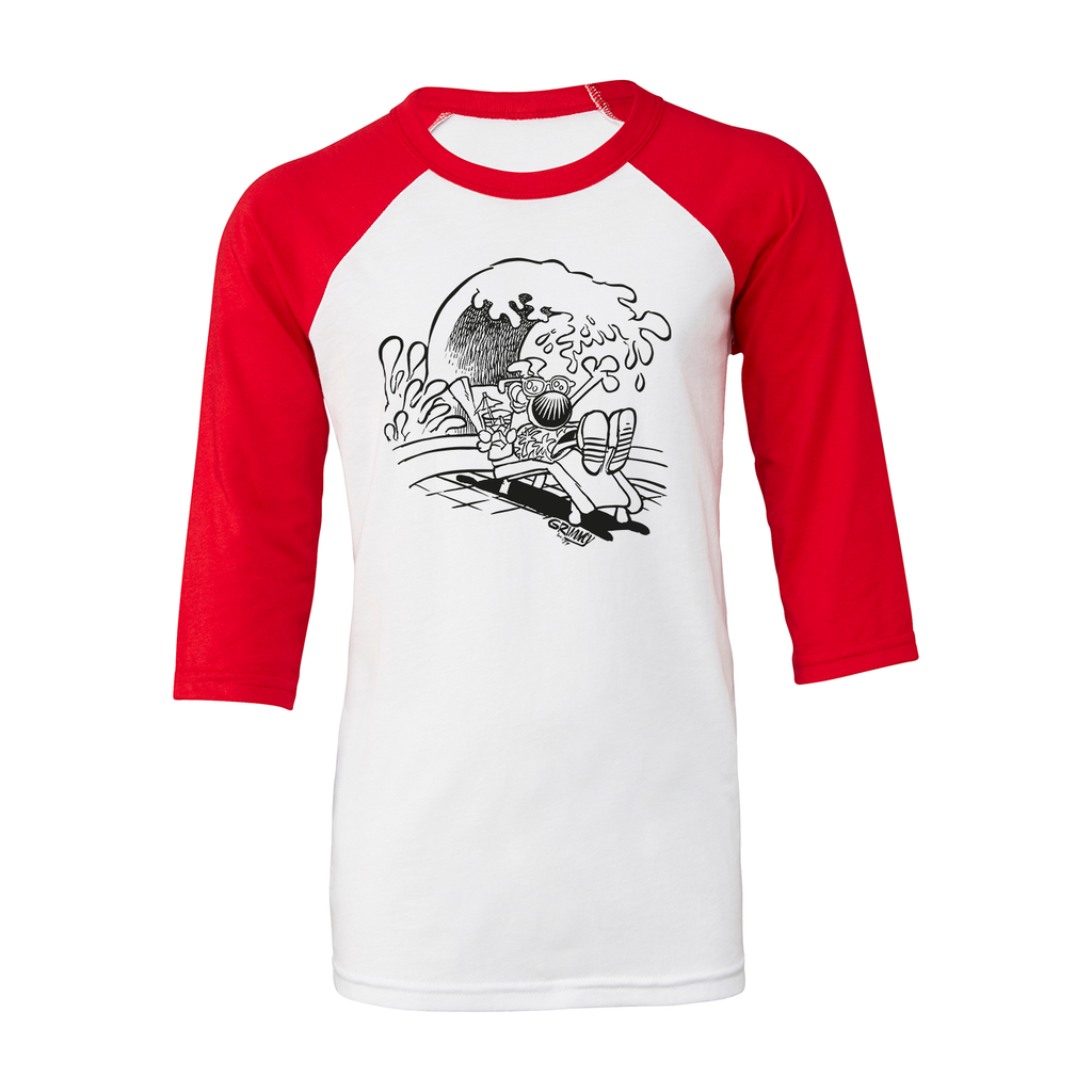 Grimmy On Vacation Kid's Baseball Tee