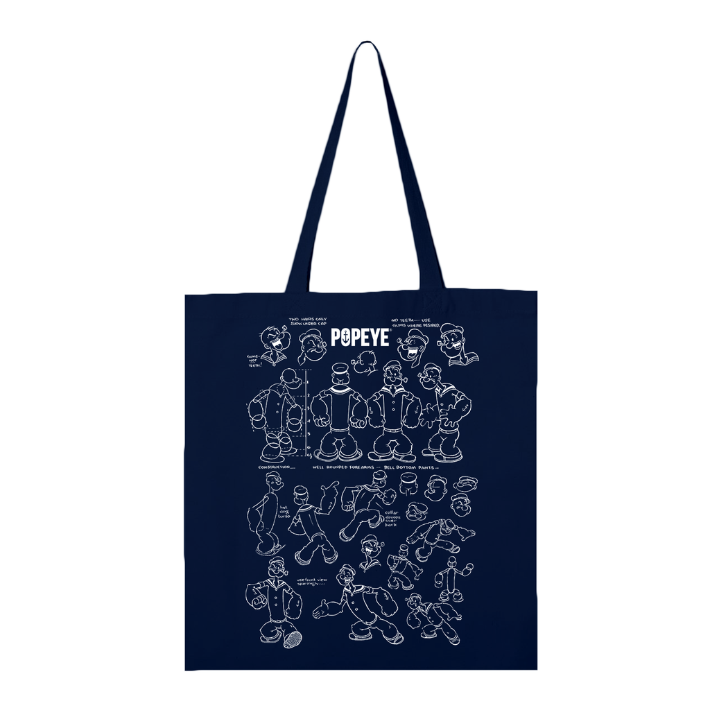 Popeye Blueprint Navy Tote Bag