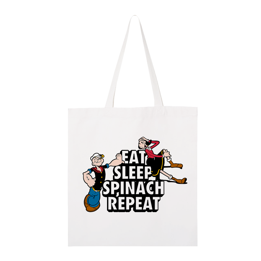 Popeye Eat, Sleep, Spinach Repeat White Tote Bag