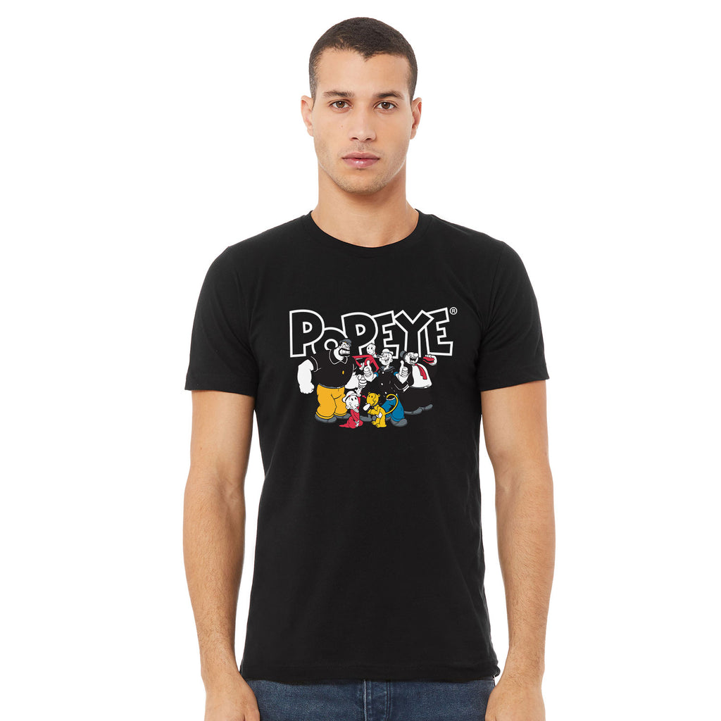 Big & Tall Popeye Full Cast T-Shirt - Black