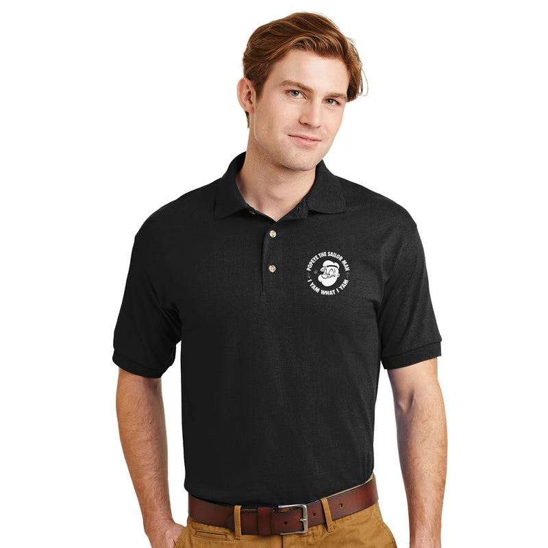 Popeye 'I Yam What I Yam' Polo Shirt - Black