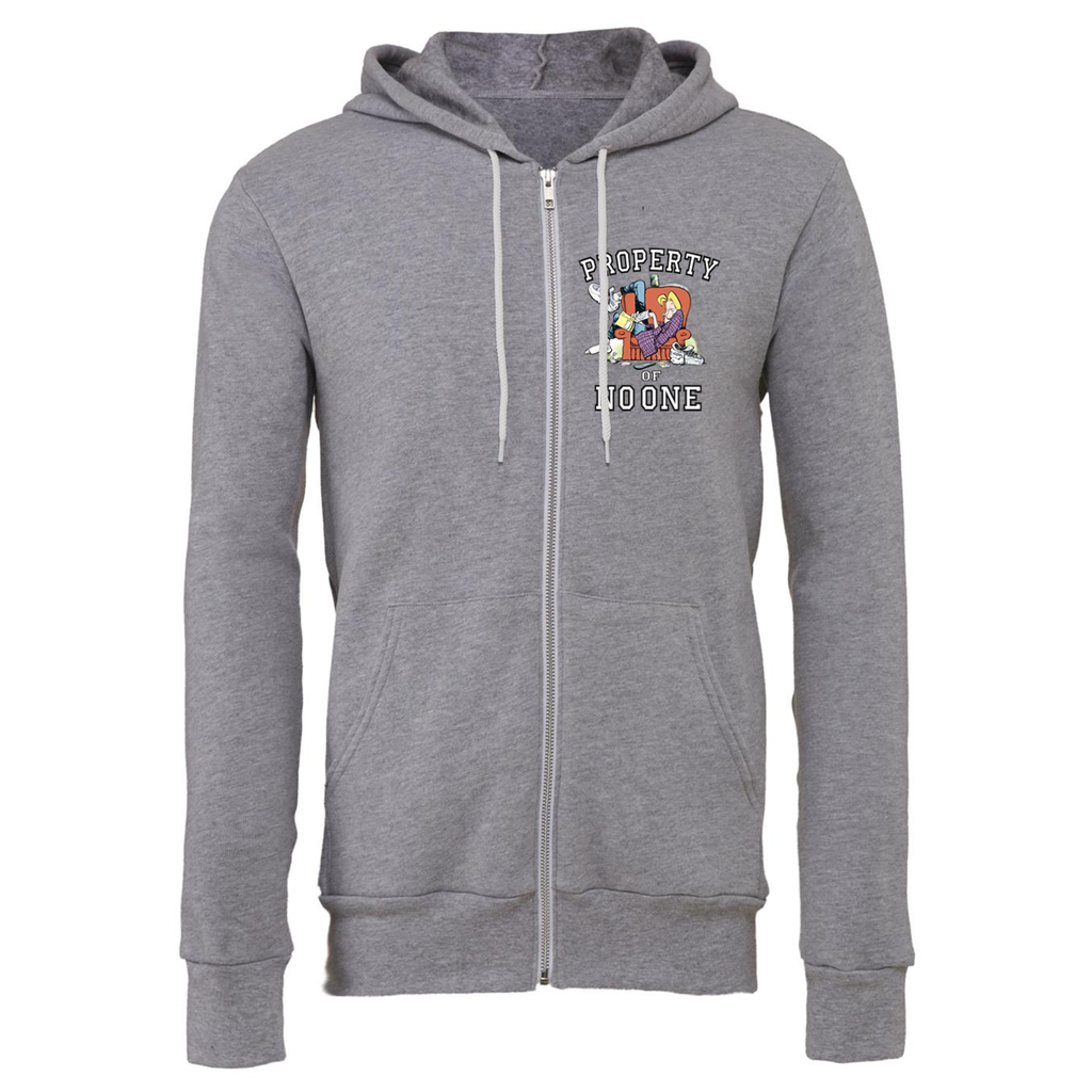 Zits 'Property Of No One' Zip Up Hoodie Heather Grey