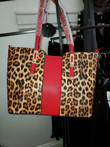 Leopard Purse with Red Stripe