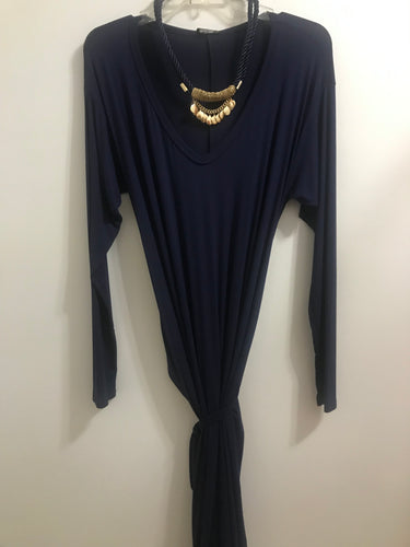 Long Sleeve V- Neck Jersey Dress