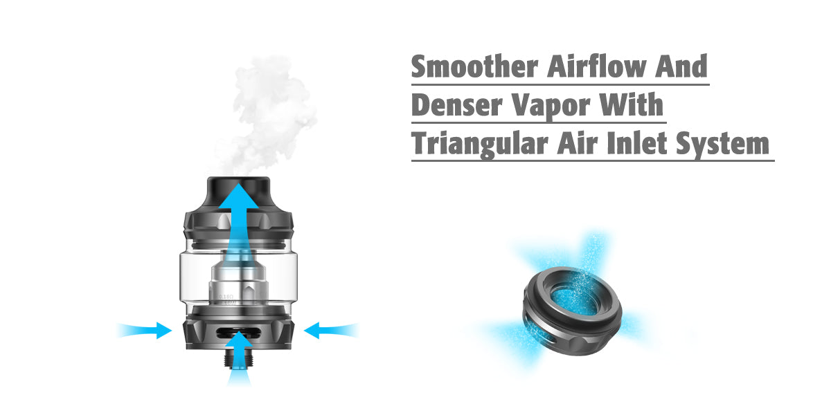 sub-ohm tank airflow and air inlet system